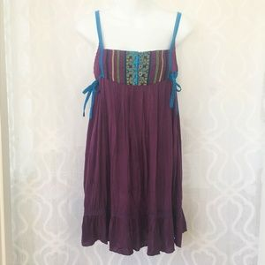 Free People Purple Embroidered Strappy Boho Tunic